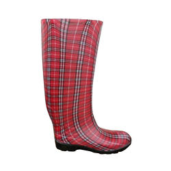 Ladies' Fashion Boots - Red Plaid