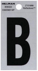"""2"""" Black And Silver Vinyl Reflective Letter B"""