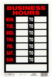 "8 x 12"" Business Hours Sign"