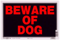 "8 x 12"" Beware Of Dog Sign"