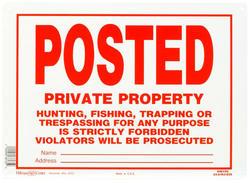 "10 x 14"" Posted No Trespassing Aluminum Sign"