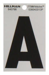 """3"""" Black And Silver Vinyl Reflective Letter A"""