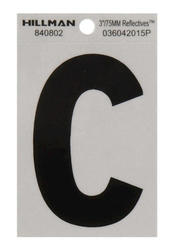 """3"""" Black And Silver Vinyl Reflective Letter C"""