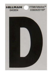 "3"" Black And Silver Vinyl Reflective Letter D"
