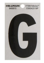 "3"" Black And Silver Vinyl Reflective Letter G"