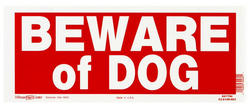 "6 x 15"" Red & White Beware Of Dog Sign"