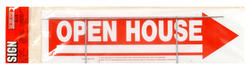 """6 x 24"""" Red & White Corrugated Plastic Open House Sign"""