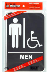 "6 x 9"" ADA Men's Handicap Accessible Restroom Sign With Braille"