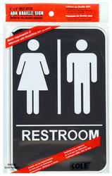 """6 x 9"""" ADA Men's And Women's Restroom Sign With Braille"""