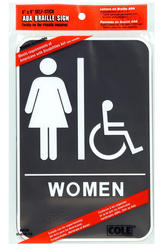"6 x 9"" ADA Women Handicap Accessible Restroom Sign With Braille"