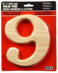 "6-1/2"" Pine Wood House Numbers"