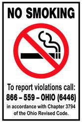 "8 x 12"" No Smoking Sign Ohio"