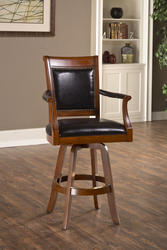 "Kingston 31.25"" Seat Height Swivel Leather-Back Game Bar Stool"