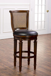 "Dalton 30"" Seat Height Cane-Back Bar Stool with Leather Seat"