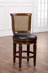 """Dalton 24"""" Seat Height Cane-Back Counter Stool with Leather Seat"""