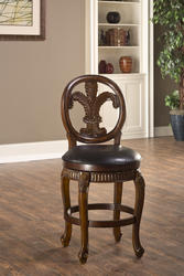 "Fleur de Lis 25"" Seat Height Triple-Leaf Counter Stool with Leather Seat"