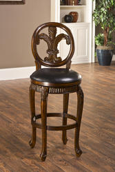 "Fleur de Lis 31"" Seat Height Triple-Leaf Bar Stool with Leather Seat"