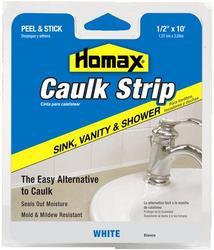 "Homax 1/2"" x 10' White Sink, Vanity & Shower Caulk Strip"