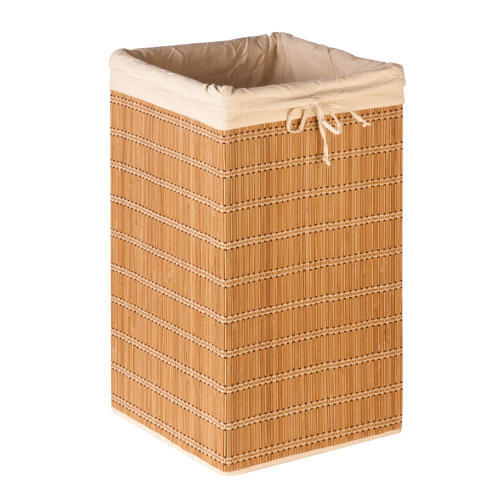 Honey can do hmp 01620 square wicker bamboo hamper with liner at menards - Wicker hamper with liner ...