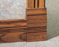 "7/8"" x 3-1/2"" x 6"" Embossed Oak Plinth Block Moulding"