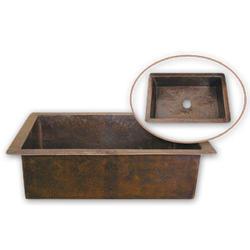 "Hammerwerks® Copper Drop-In Large Single Bowl, 9""deep"