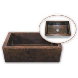 """Hammerwerks® Copper Apron-front Farmhouse Single Bowl, 9"""" D"""