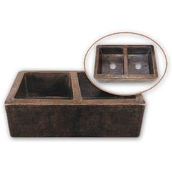 """Hammerwerks® Copper Apron-front Farmhouse Double Bowl, 9"""" D"""