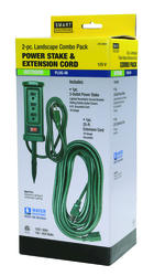 Smart Electrician 2-Piece Landscape Power Stake and Extension Cord Combo Pack