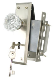 Full Body Mortise Lock with Glass Knobs and Satin Nickel Rosette and Plate