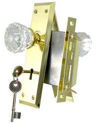 Full Body Mortise Lock with Glass Knobs and Polished Brass Rosette and Plate