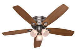 "Hunter Low-Pro 52"" Antique Pewter Ceiling Fan"