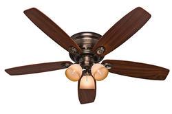 """Hunter Low-Pro 52"""" Brushed Bronze Ceiling Fan"""