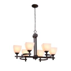 Omega 6 Light Chandelier-Oil Rubbed Bronze Finish