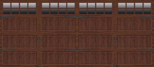 Ideal Door 174 16 Ft X 7 Ft Dark Oak Steel Insul Carriage