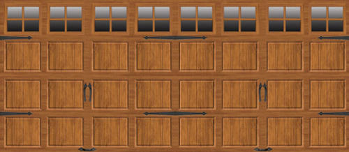 Ideal Door 174 16 Ft X 7 Ft Medium Oak Steel Carriage House