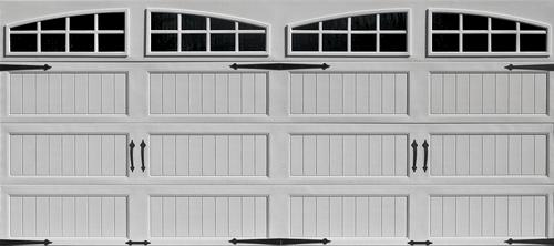 Ideal door 16 ft x 7 ft 4 star white arch lite long pnl for Ideal garage doors