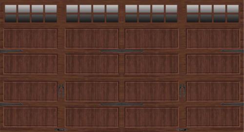 Ideal Door 174 16 Ft X 8 Ft Dark Oak Steel Insul Carriage