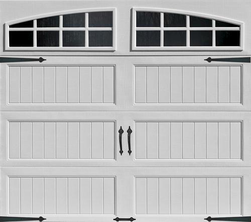 ideal door 174 4 9 ft x 7 ft white arch lite panel insulated carriage house garage door