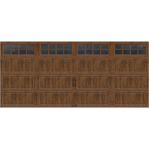 Ideal door 16 ft x 7 ft dark oak steel insul carriage for Ideal garage doors