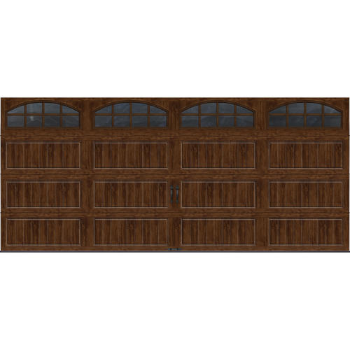 Ideal door 16 ft x 7 ft walnut long pnl carriage house for 16 ft x 7 ft garage door