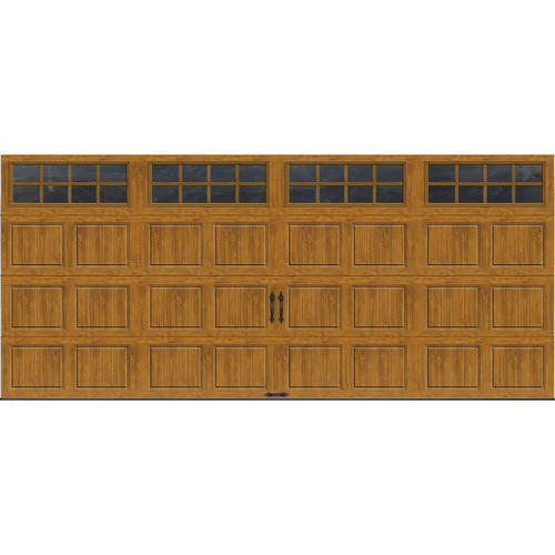 Ideal door 16 ft x 7 ft medium oak short pnl carriage for Ideal garage doors