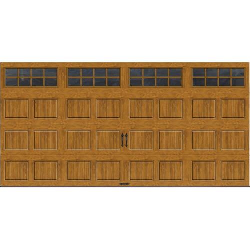 Ideal door 16 ft x 8 ft medium oak short pnl carriage for 16 ft x 8 ft garage door