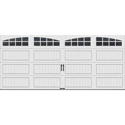 Ideal Door® 4-Star 16 ft. x 7 ft. White Arch Lite Long Panel Insulated Carriage House Garage Door