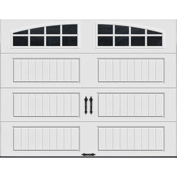 Ideal Door® 4-Star 9 ft. x 7 ft. White Arch Lite Long Panel Insulated Carriage House Garage Door