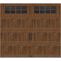 Ideal Door® Premium 9 ft. x 8 ft. Dark Oak Steel Insulated Carriage House Garage Door