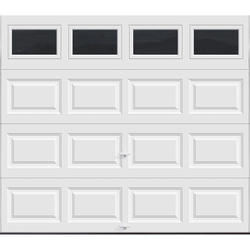 Ideal Door® 5-Star Plain Windows MDP38 8 ft. x 7 ft. White Insulated Garage Door with EZ-SET® Spring