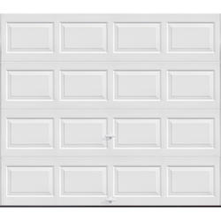 """Ideal Door® 3-Star Standard Value Non-Insulated Garage Door - 8 ft. wide x 6 ft. 6 in. high - White - Solid, No Windows - Extension Springs with 12"""" Radius Standard Lift Track -"""