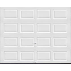 """Ideal Door® 3-Star Standard Value Non-Insulated Garage Door - 9 ft. wide x 6 ft. 6 in. high - White - Solid, No Windows - Extension Springs with 12"""" Radius Standard Lift Track -"""