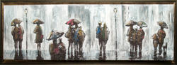 """19"""" x 51"""" Framed People with Umbrella Print"""