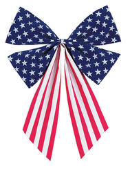 "18"" Stars & Stripes Flocked Patriotic Bow"